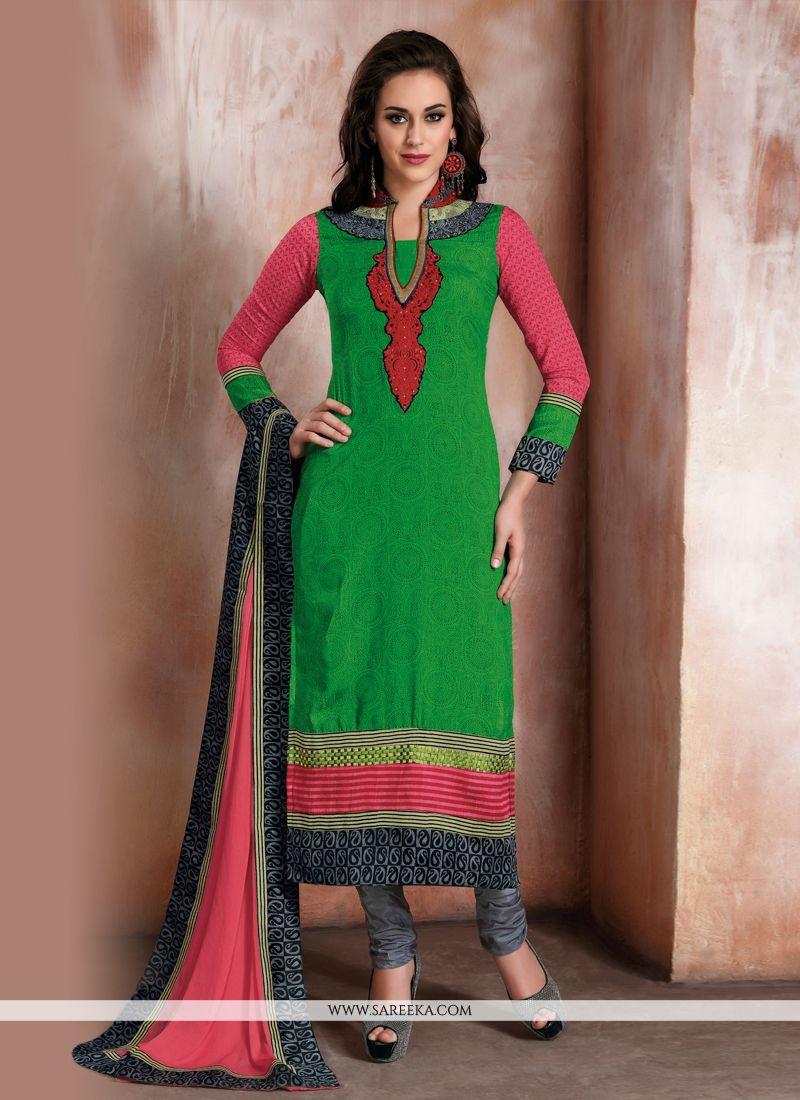 Green Patch Border Work Churidar Designer Suit