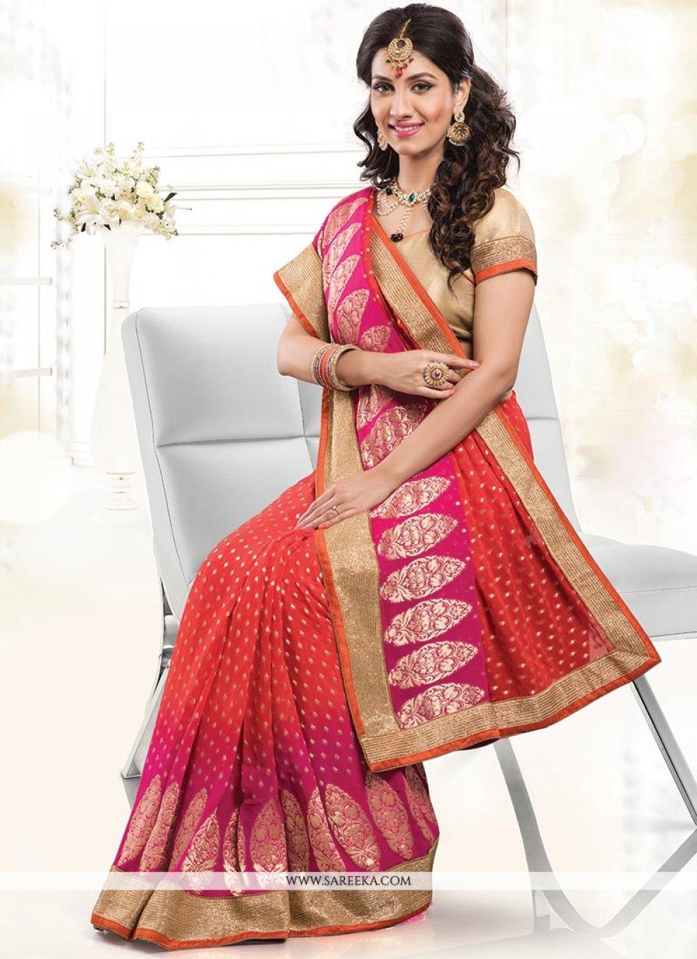 Hot Pink Patch Border Work Jacquard Designer Saree