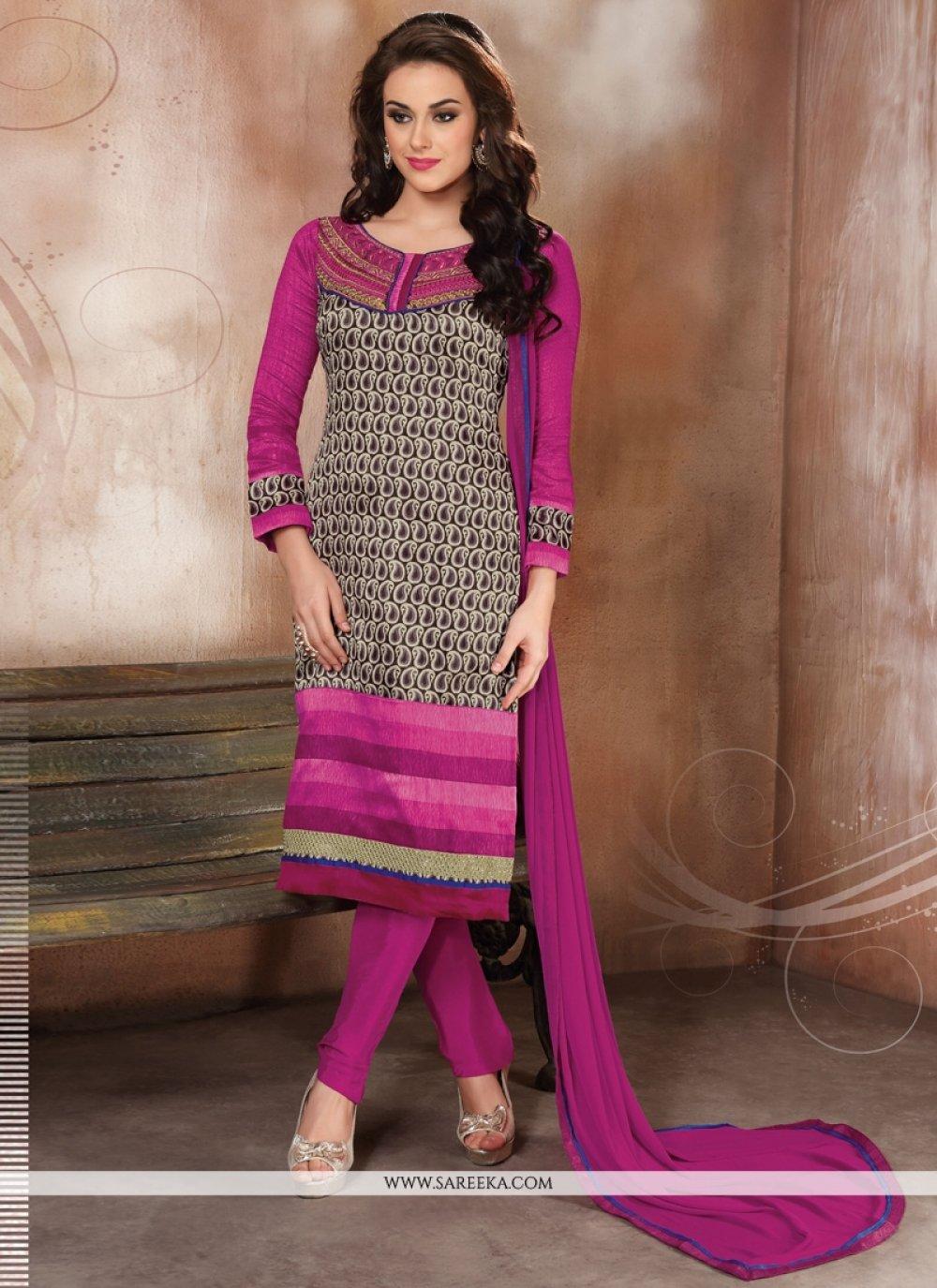 Hot Pink Raw Silk Churidar Designer Suit