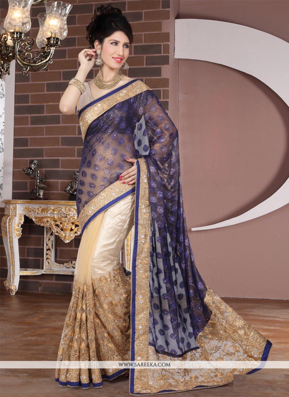 Net Resham Work Designer Half N Half saree