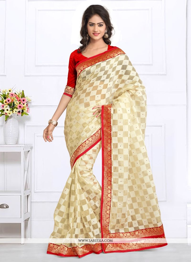 Patch Border Work Off White Tissue Designer Saree