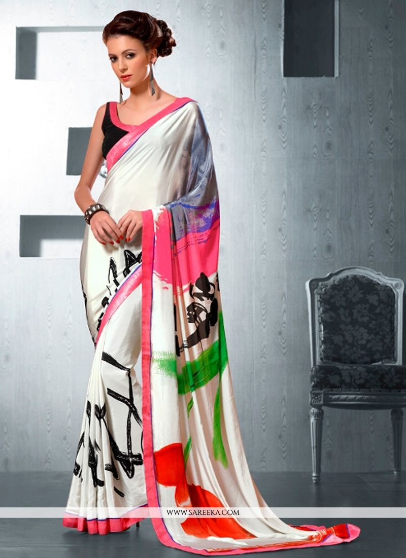 Print Work White Casual Saree