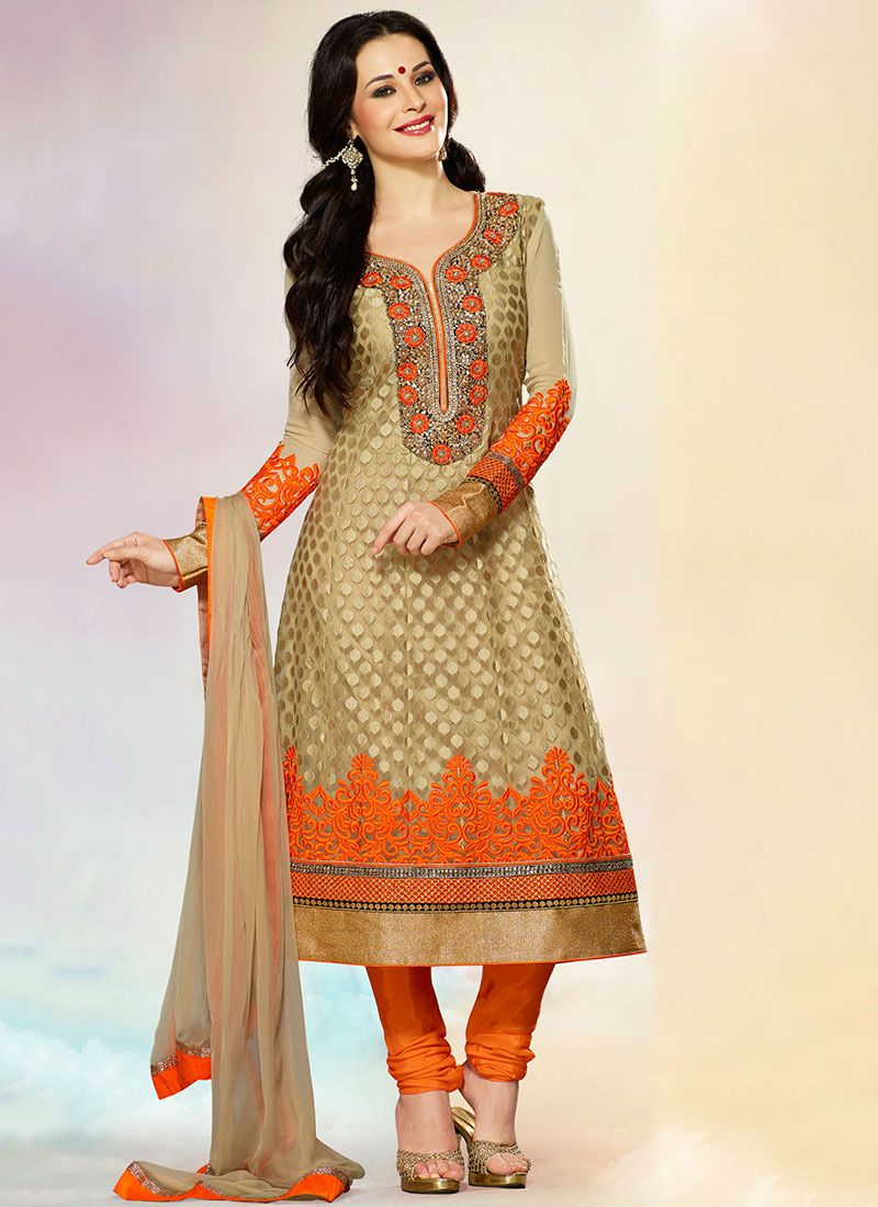 Serene Beige And Orange Net Churidar Suit