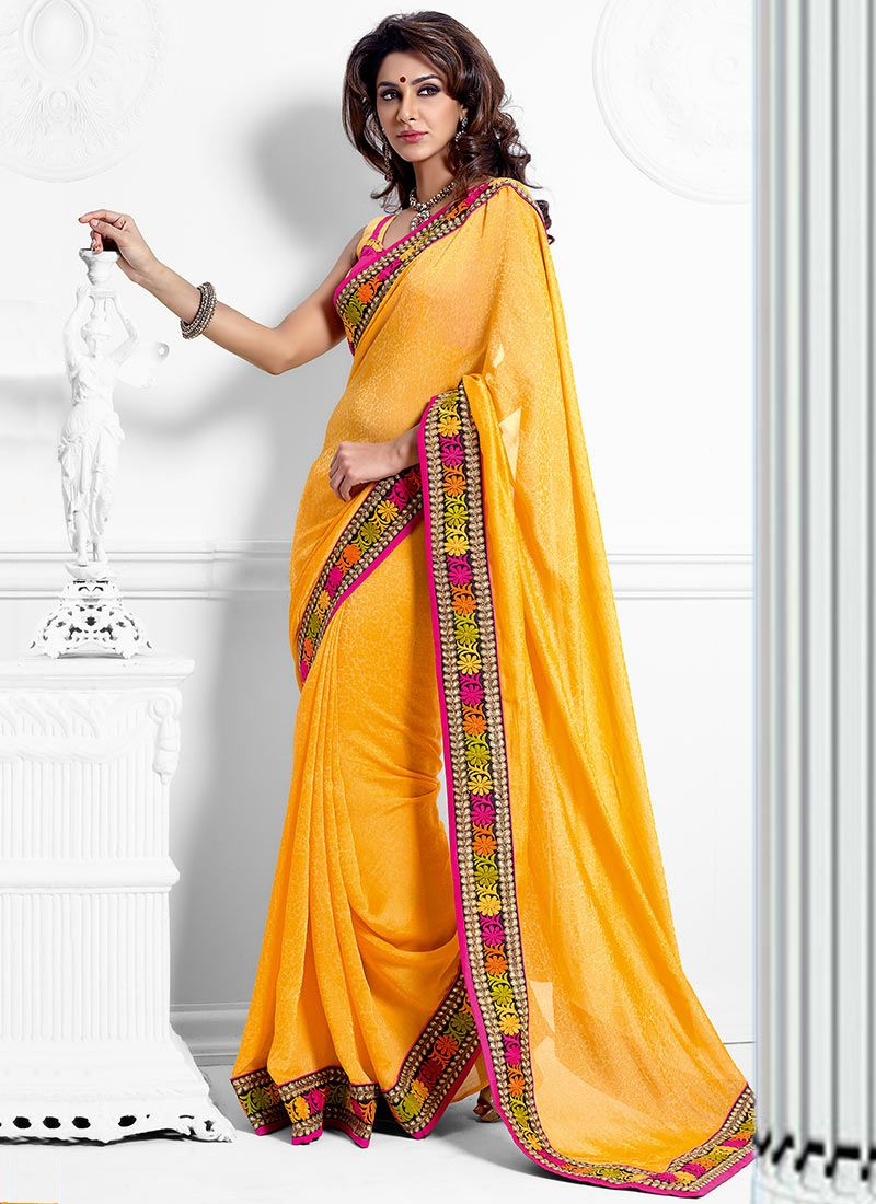 Serene Mustard Crepe Wedding Saree