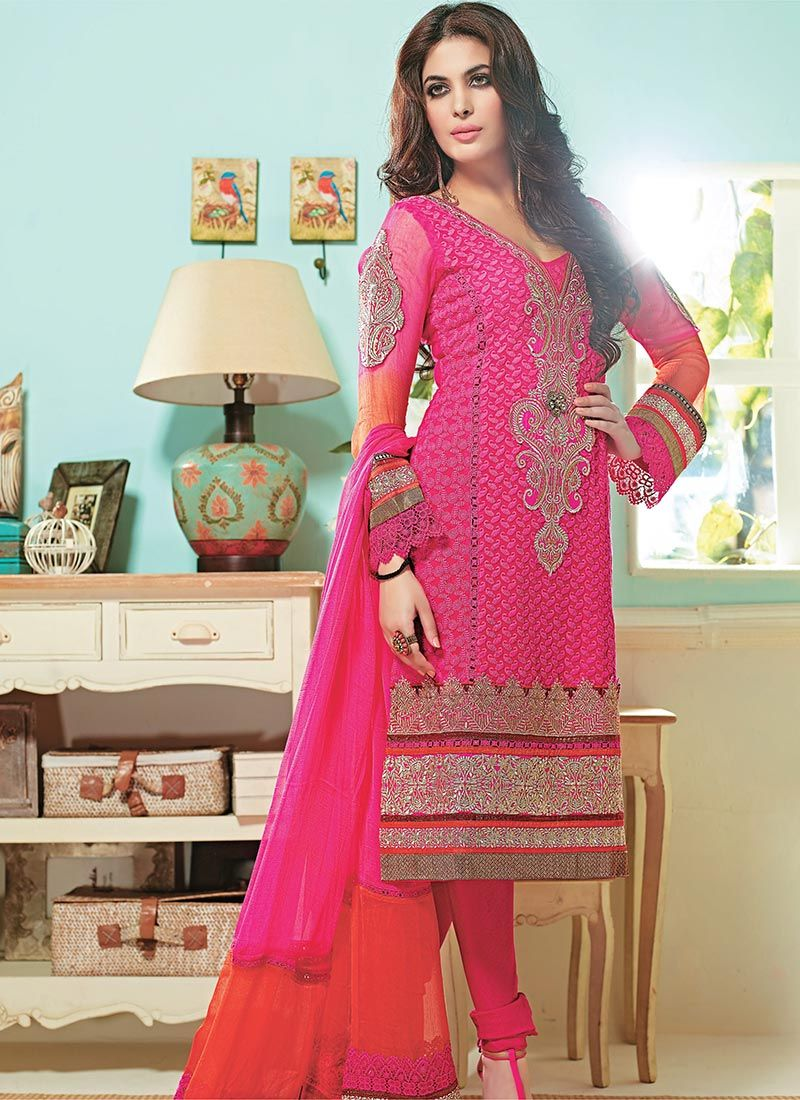Serene Pink Border Work Churidar Suit