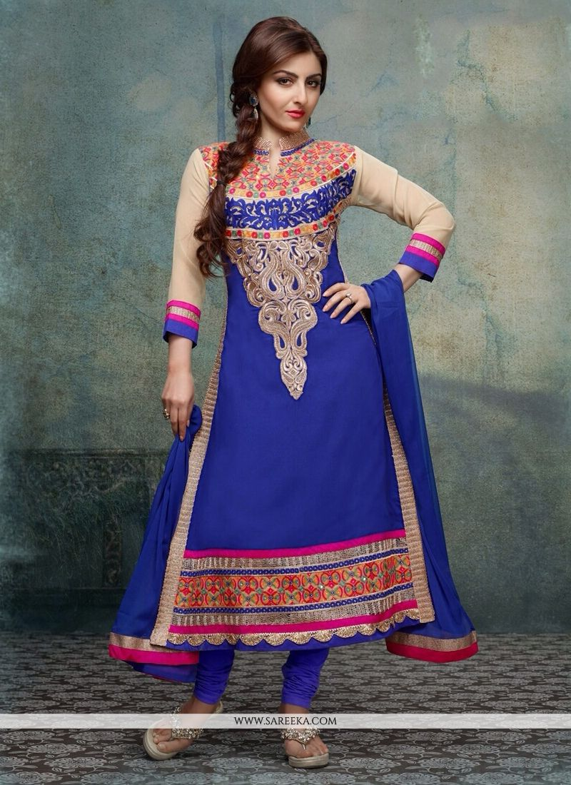 Soha Ali Khan Blue Georgette Churidar Suit