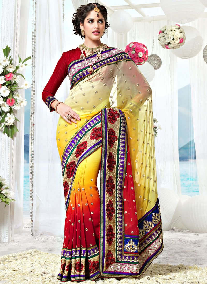 Shadded Yellow and Red Faux Georgette Saree