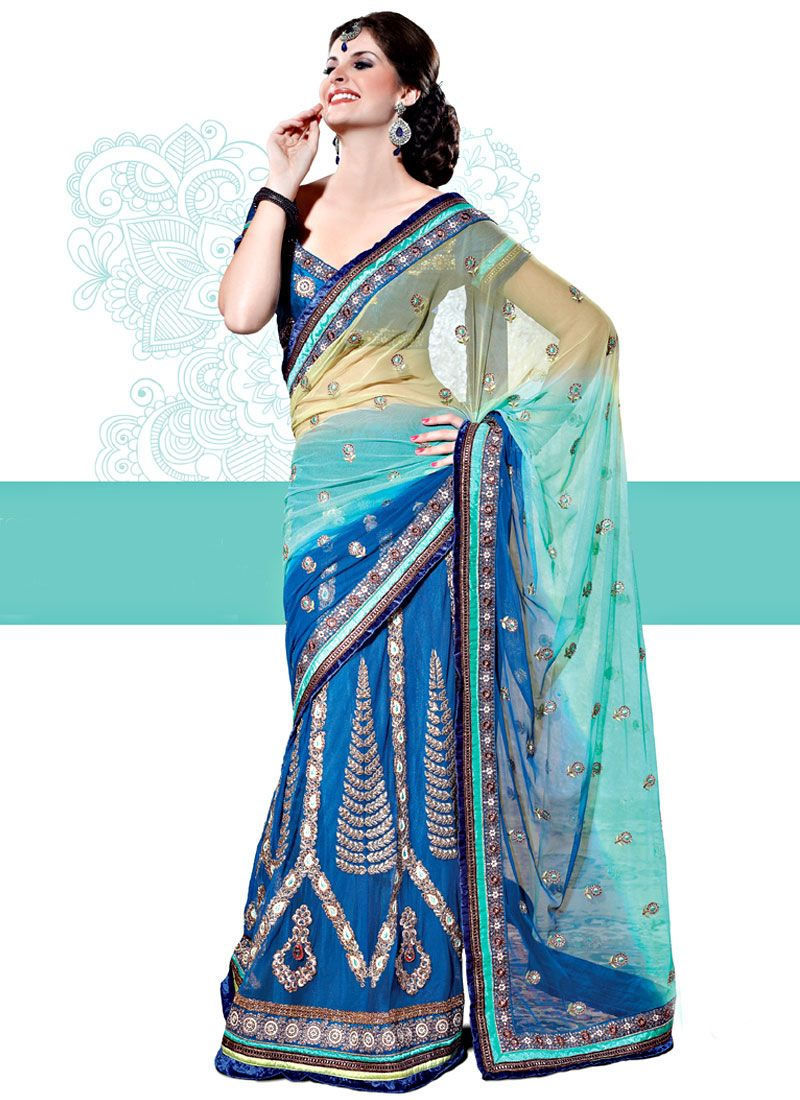 Shaded Fawn, Turquoise and Blue Net Lehenga Saree