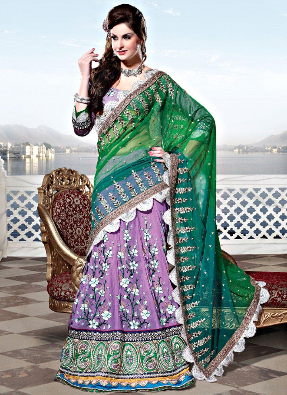 Shaded Green and Mauve Net Lehenga Style Saree