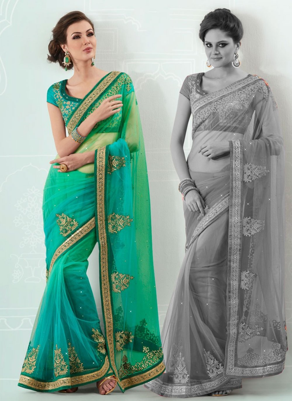 Shaded Green And Turquoise Net Saree