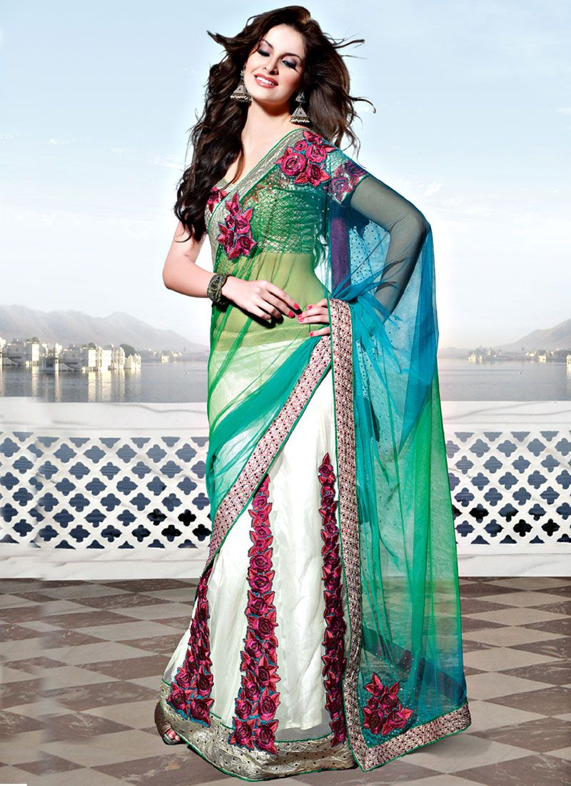 Shaded Green, Blue and Off White Net Lehenga Style Saree