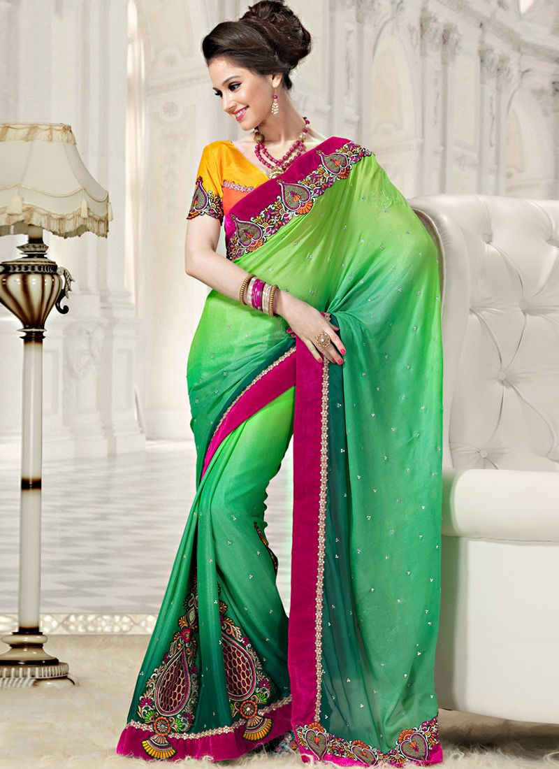 Shaded Green Faux Georgette Saree