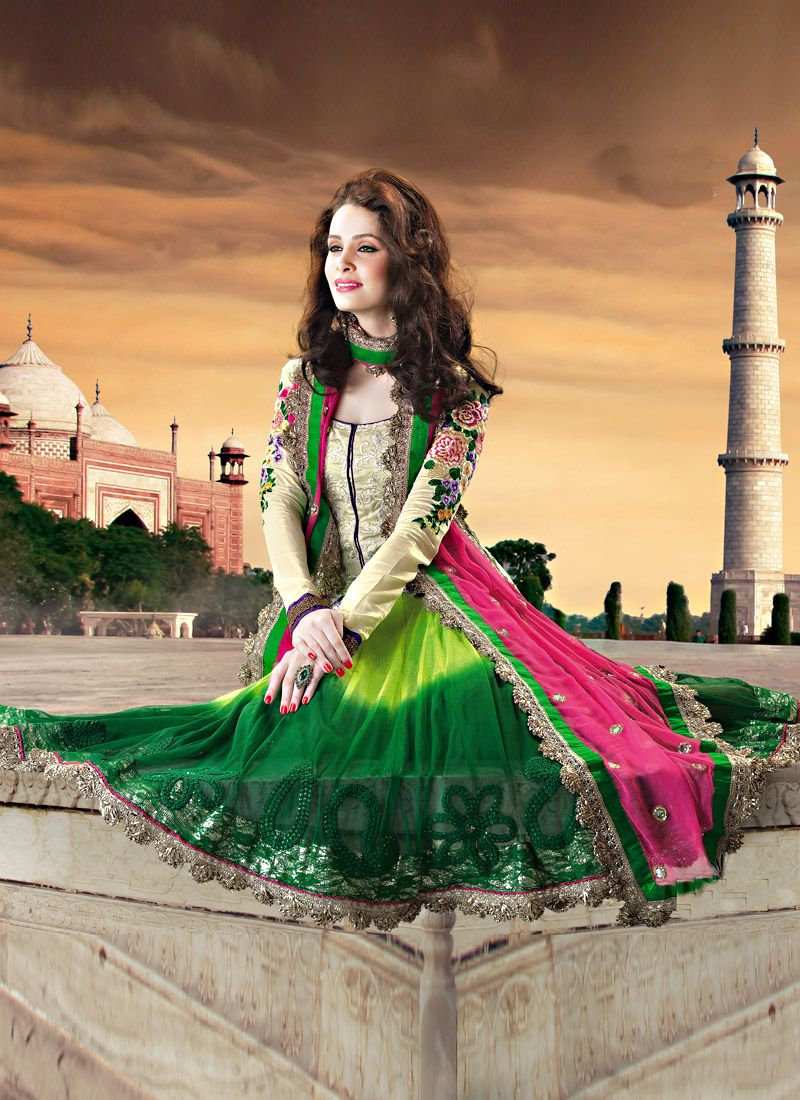 Shaded Green Net And Art Silk Anarkali Suit