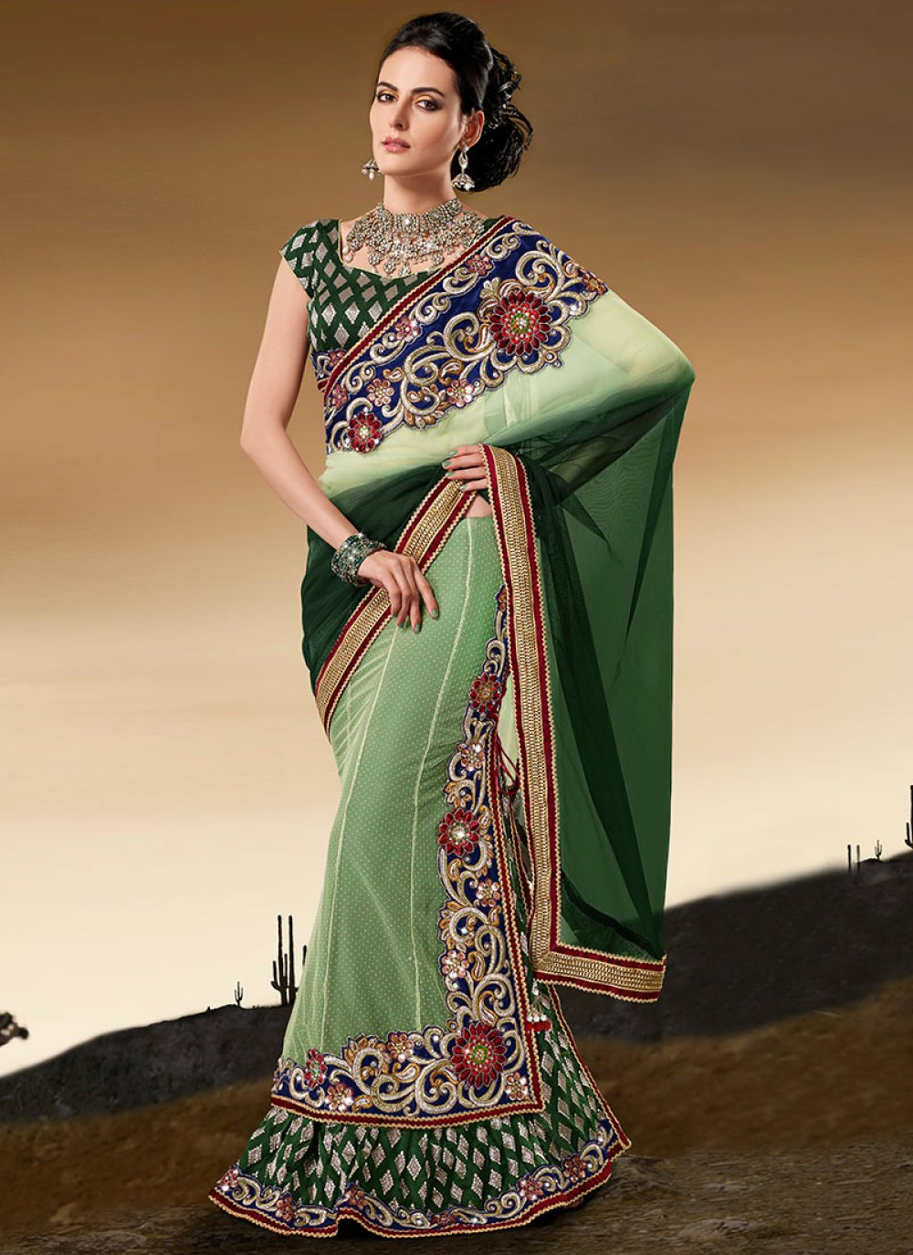 Shaded Green Net Panelled Lehenga Saree