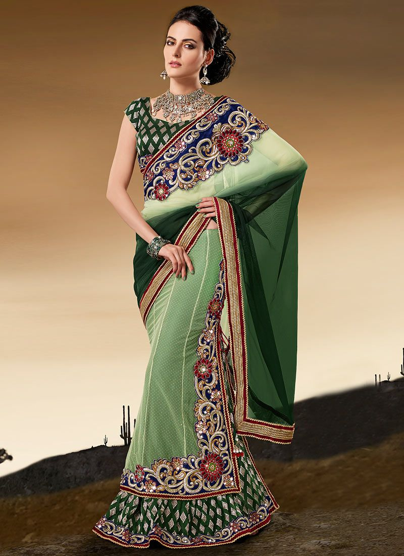Shaded Green Net Panelled Lehenga Saree