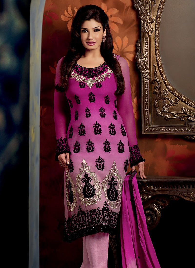 Shaded Magenta Georgette Churidar Suit