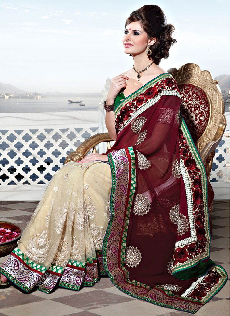 Shaded Off White And Maroon Net Lehenga Style Saree