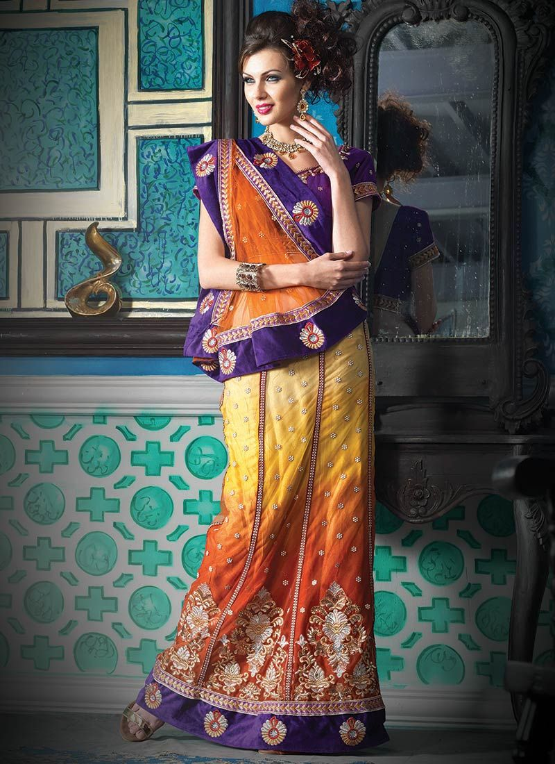 Shaded Orange And Yellow Net Lehenga Saree