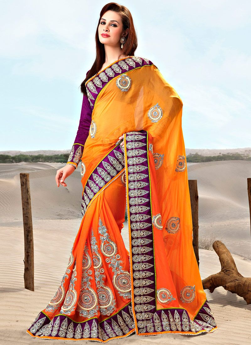 Shaded Orange Faux Georgette Embroidered Saree