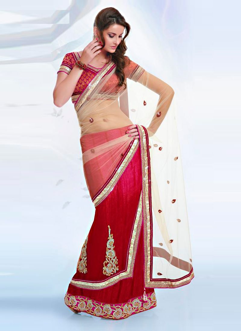 Shaded Pink And Cream Net Saree