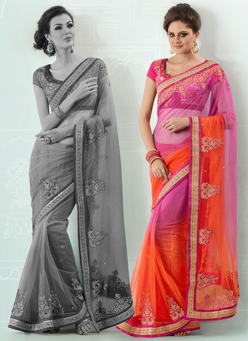 Shaded Pink And Orange Zari Embroidered Net Saree