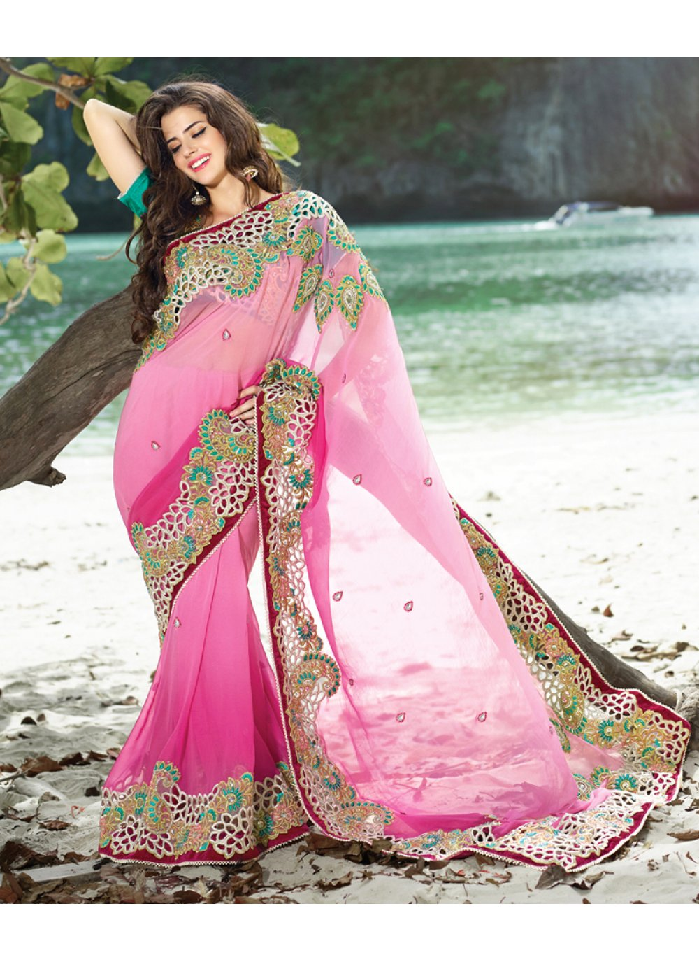 Shaded Pink Faux Georgette Embroidered Saree