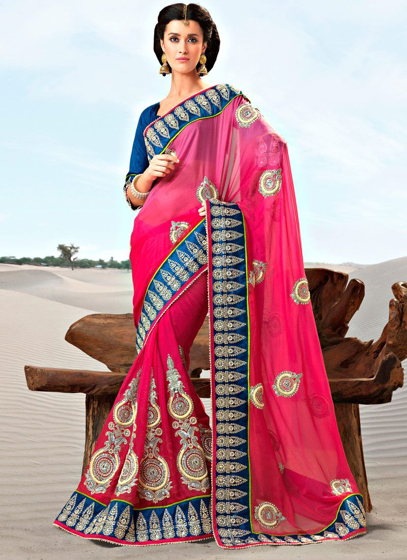 Shaded Pink Faux Georgette Saree
