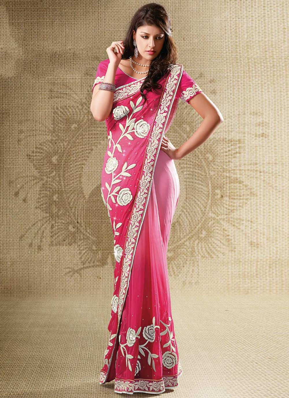 Shaded Pink Viscose Embroidered Saree