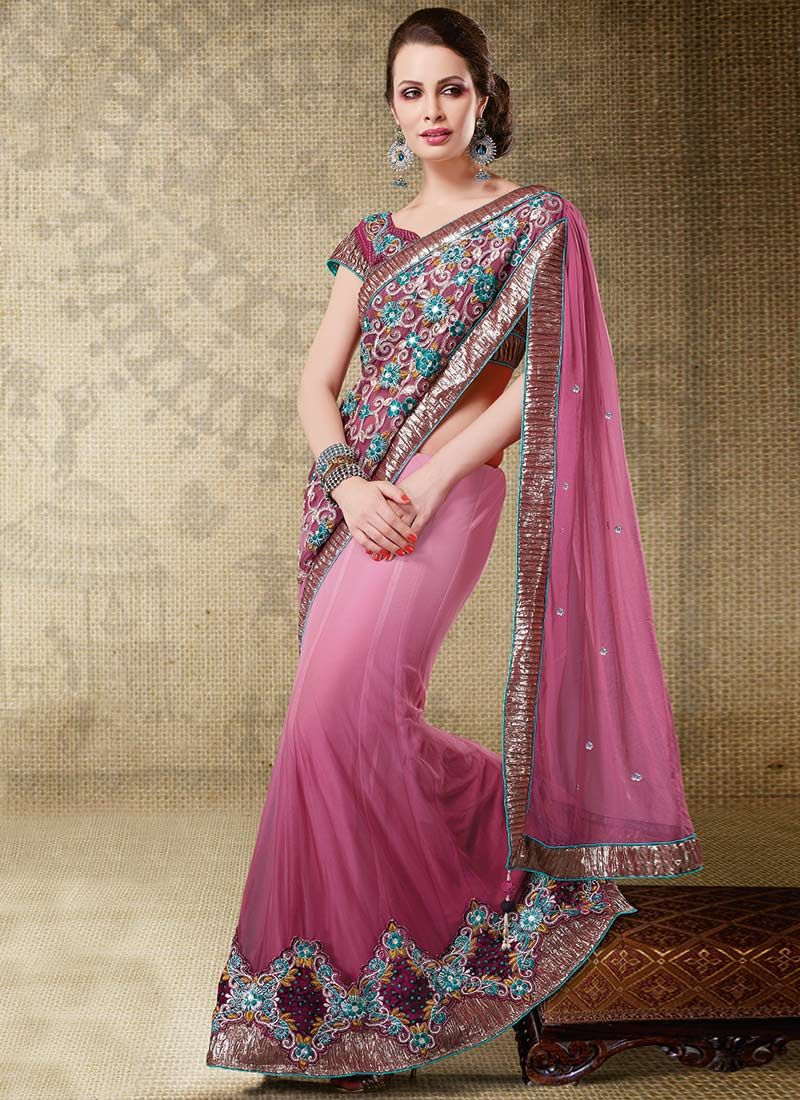 Shaded Pinkish Mauve Lehenga Style Saree