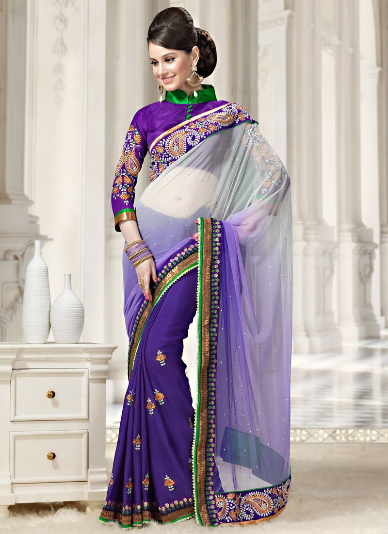Shaded Purple And Off White Net Saree