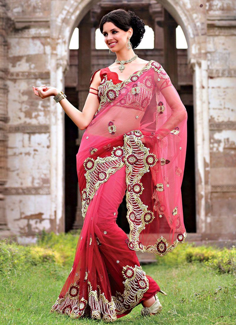 Shaded Red Net Saree