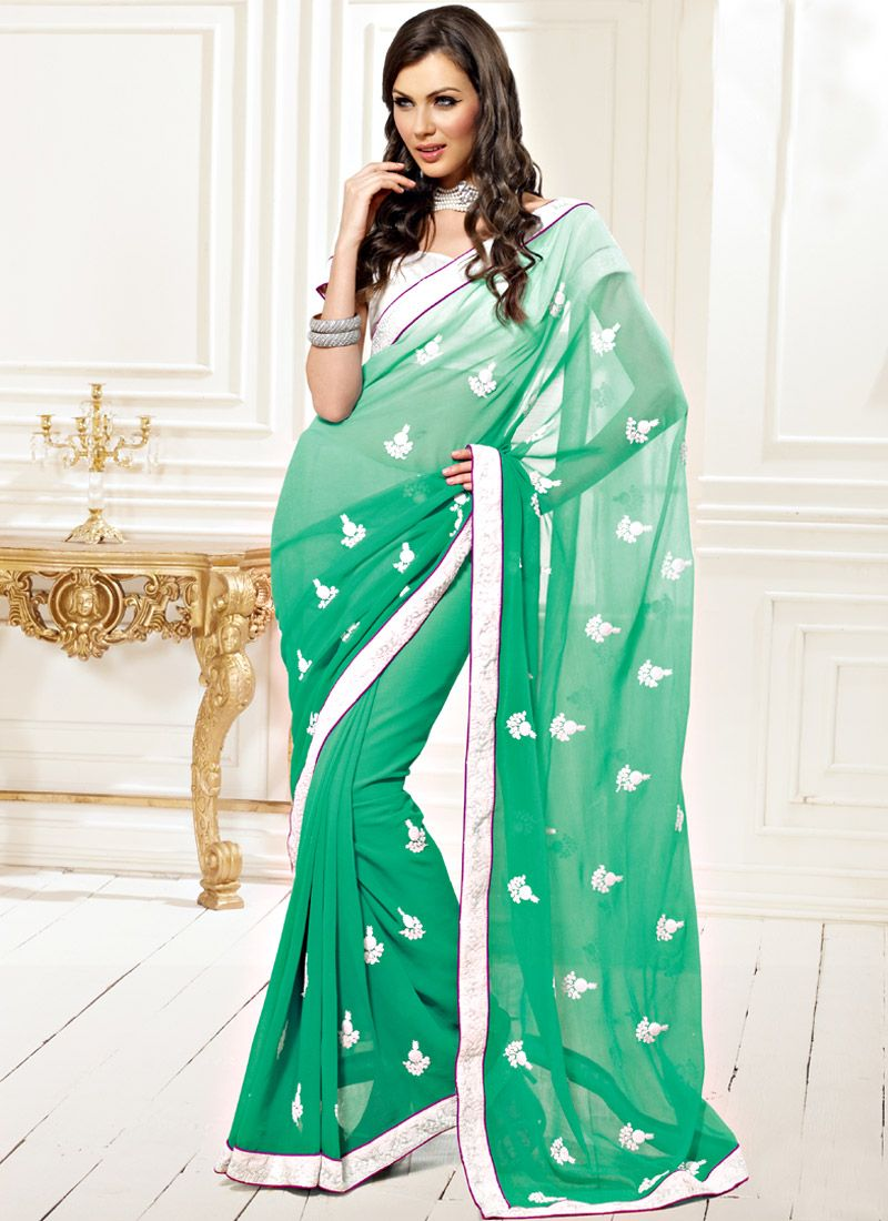 Shaded Sea Green Faux Chiffon Saree
