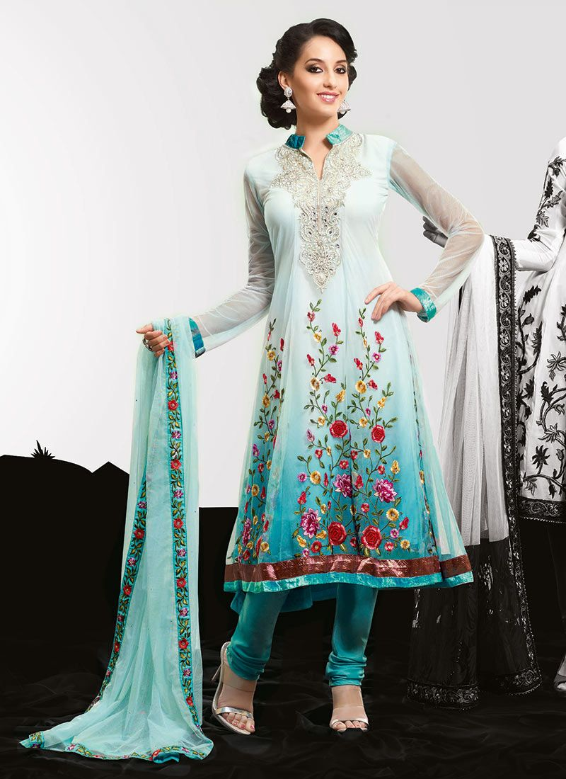 Shaded Turquoise Net Churidar Suit