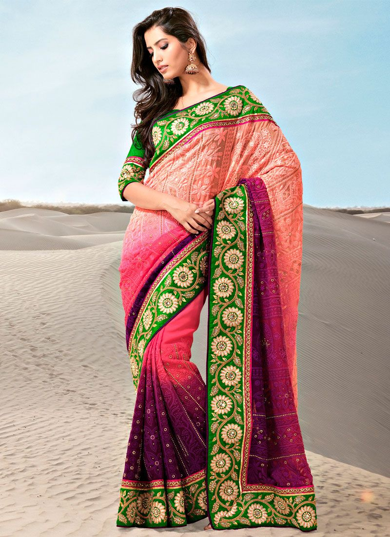 Shaded Wine And Pink Faux Georgette Saree