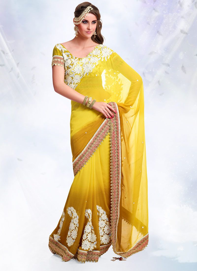 Shaded Yellow Georgette Saree