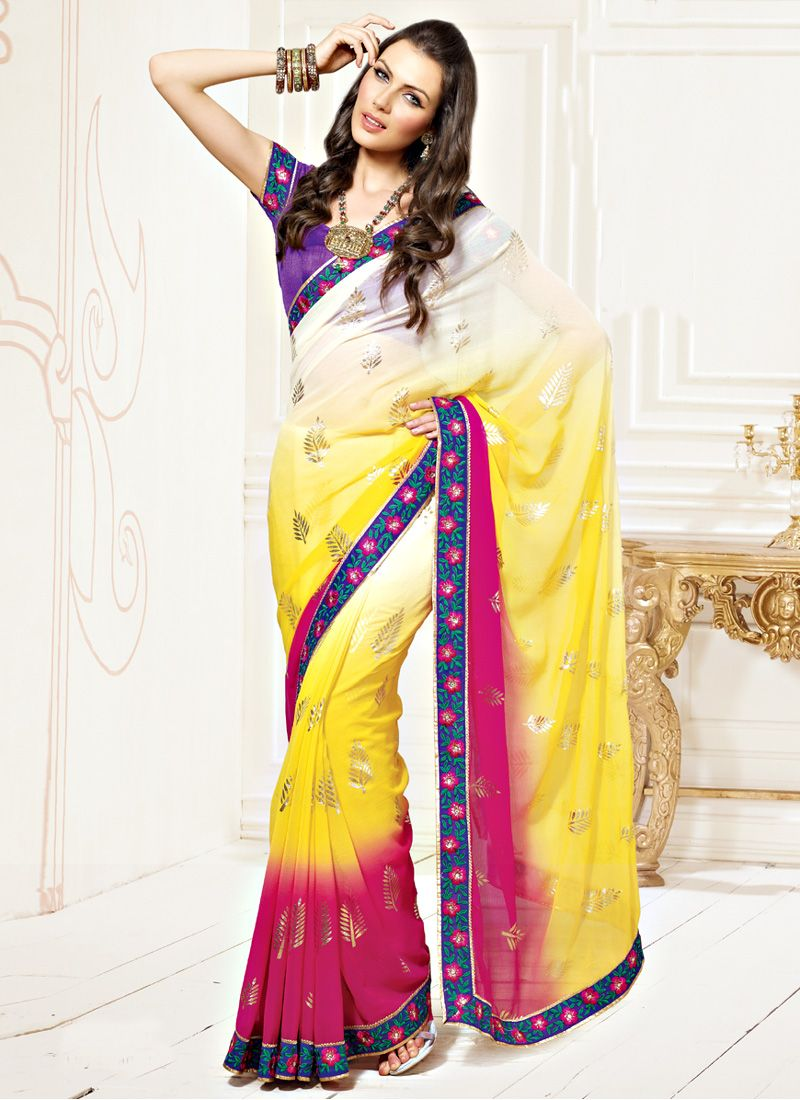 Shaded Yellow, Magenta Faux Chiffon Saree