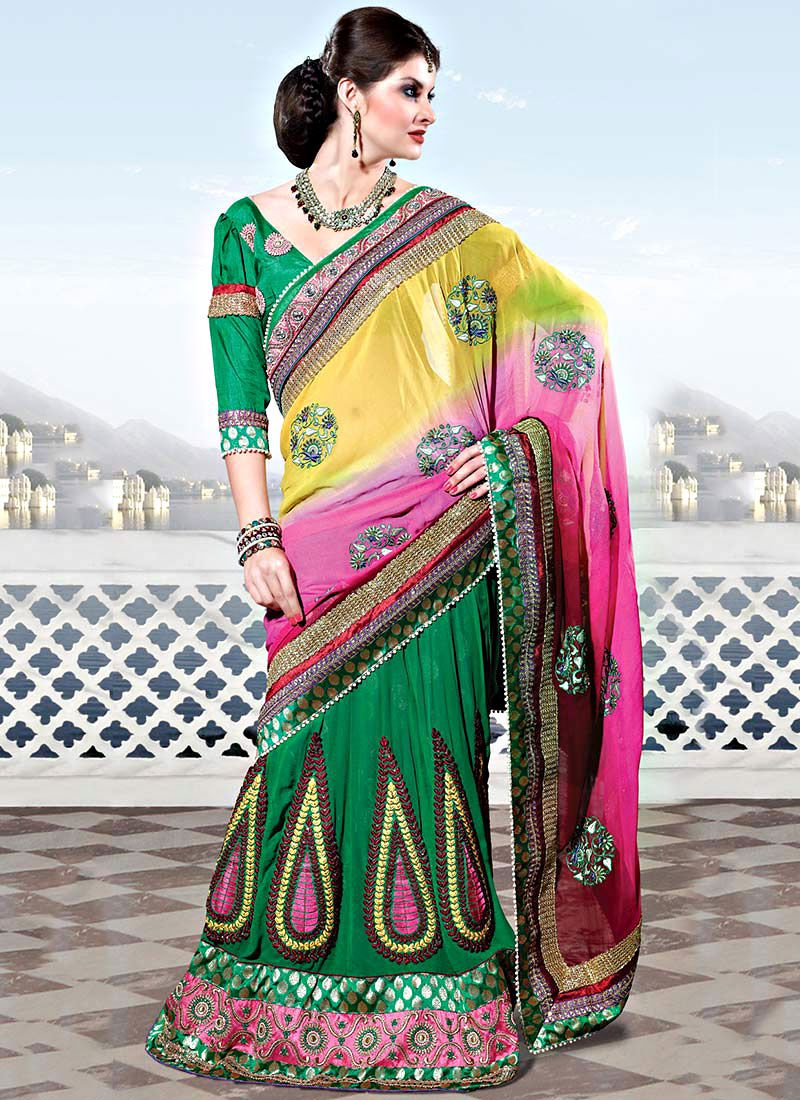 Shaded Yellow, Pink Georgette Lehenga Style Saree