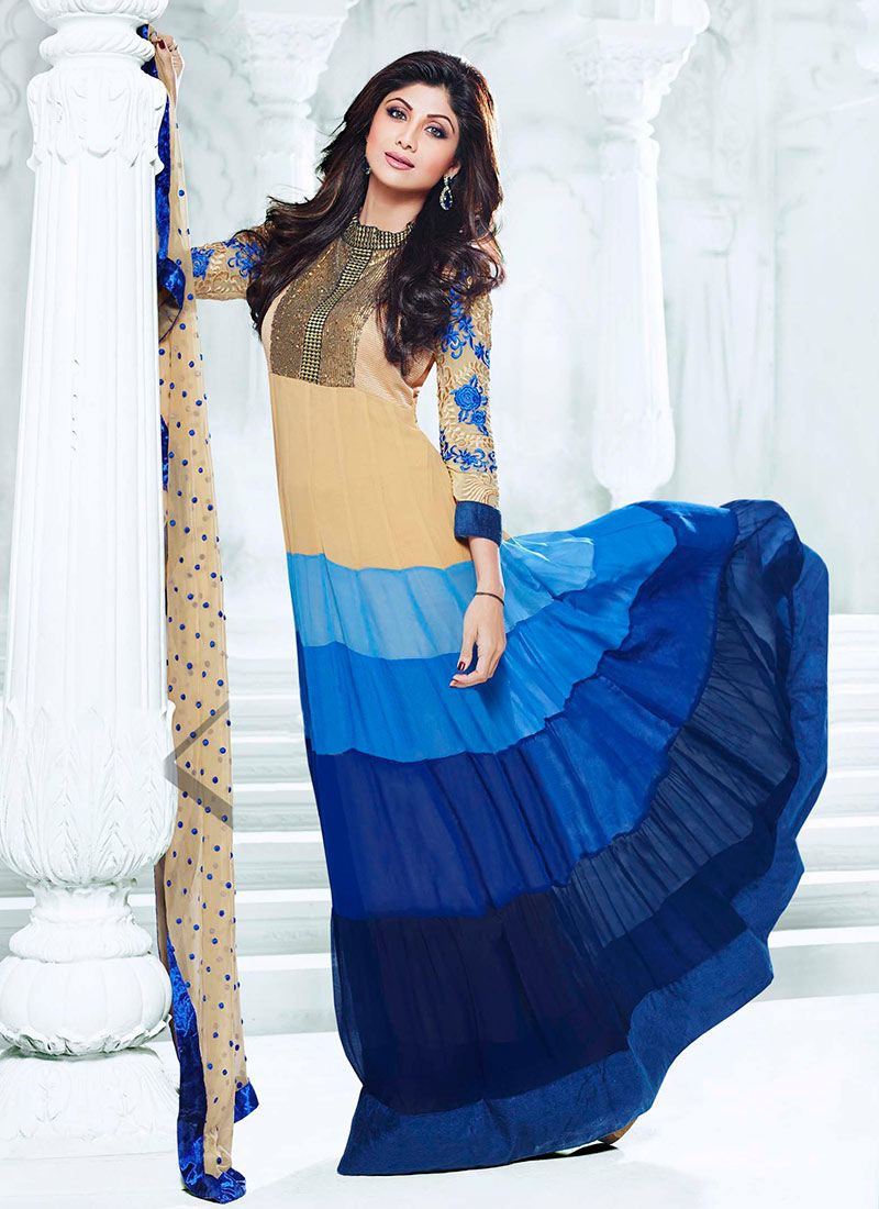 Shilpa Shetty Blue And Beige Length Anarkali Suit