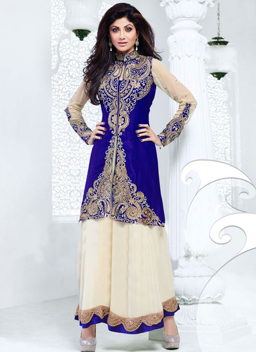 Shilpa Shetty Blue And Cream Ankle Length Anarkali Suit