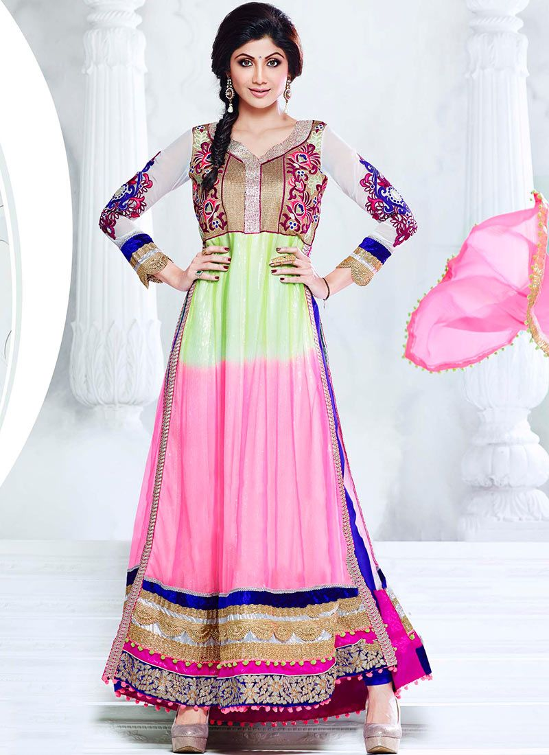 Shilpa Shetty Green And Pink Ankle Length Anarkali Suit