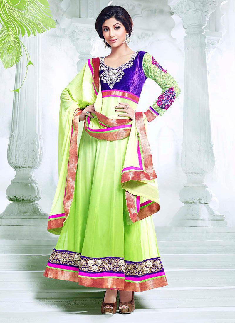 Shilpa Shetty Green Ankle Length Anarkali Suit