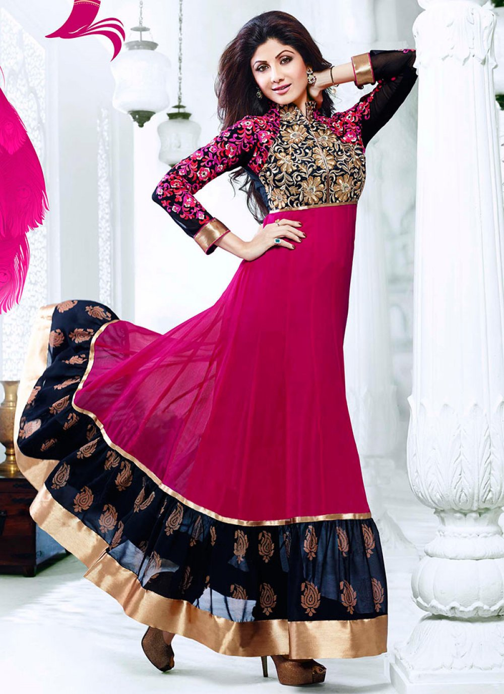 Shilpa Shetty Magenta Tiered Ankle Length Anarkali Suit