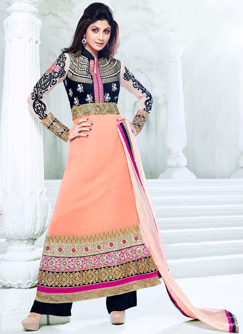 Shilpa Shetty Peach Ankle Length Anarkali Suit