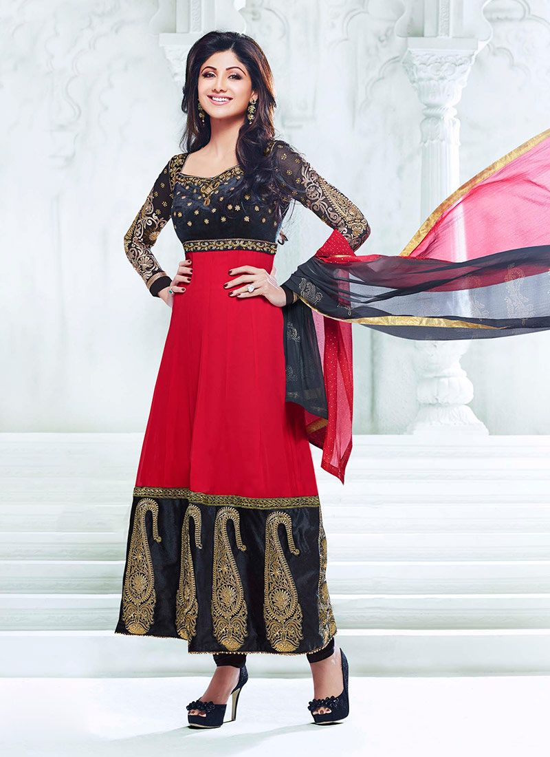 Shilpa Shetty Red Ankle Length Anarkali Suit