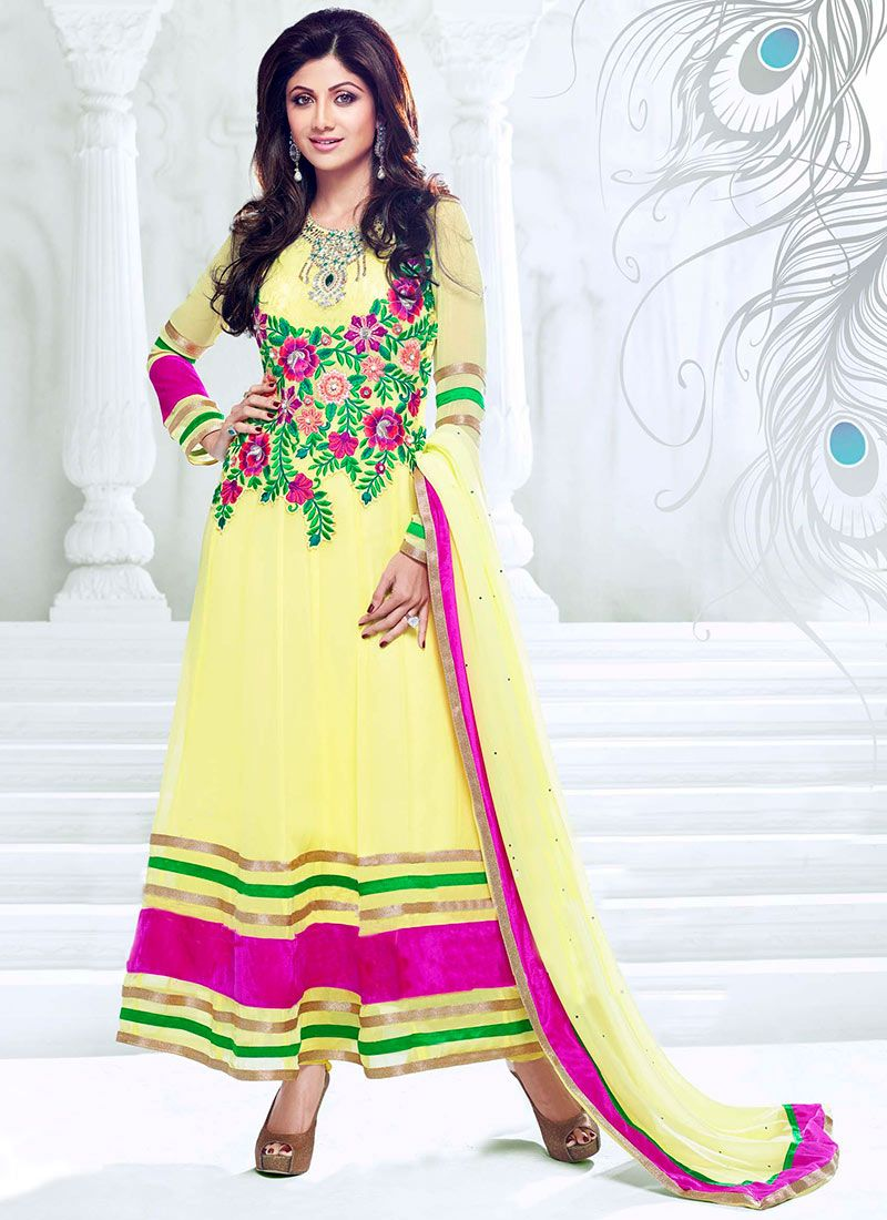 Shilpa Shetty Yellow Ankle Length Anarkali Suit
