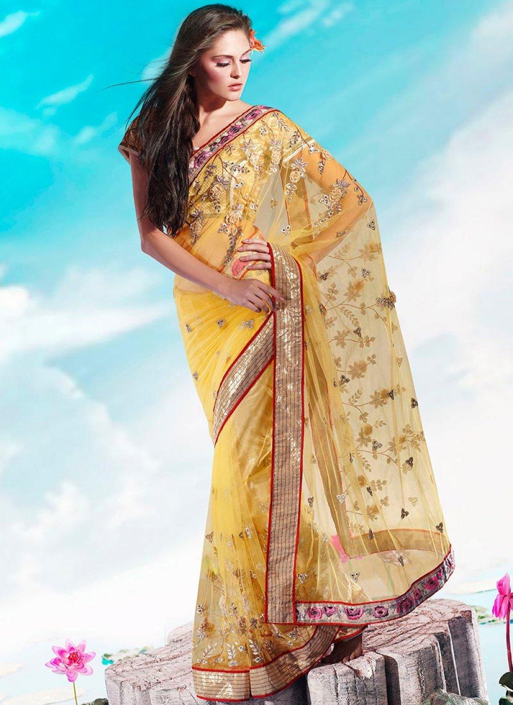 Shimmering Yellow Net Saree