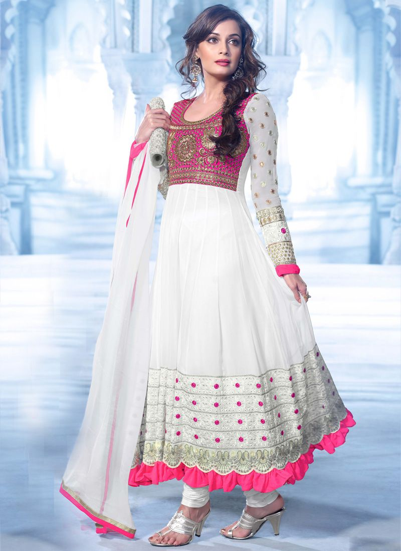 Shining Off White pink Embroidered Salwar Kameez