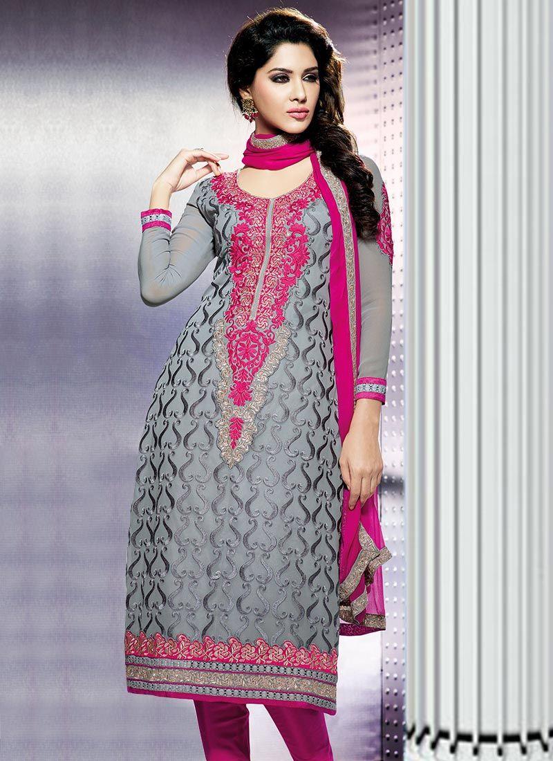 Shinning Grey And Pink Designer Churidar Suit