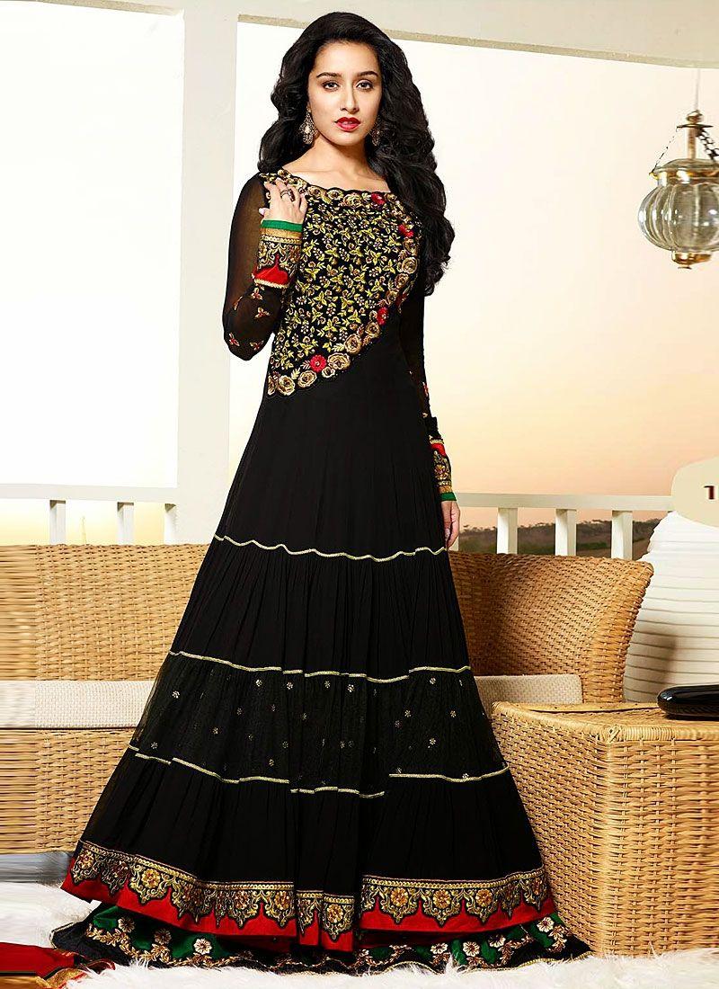 Shraddha Kapoor Black Booti Work Georgette Anarkali Suit