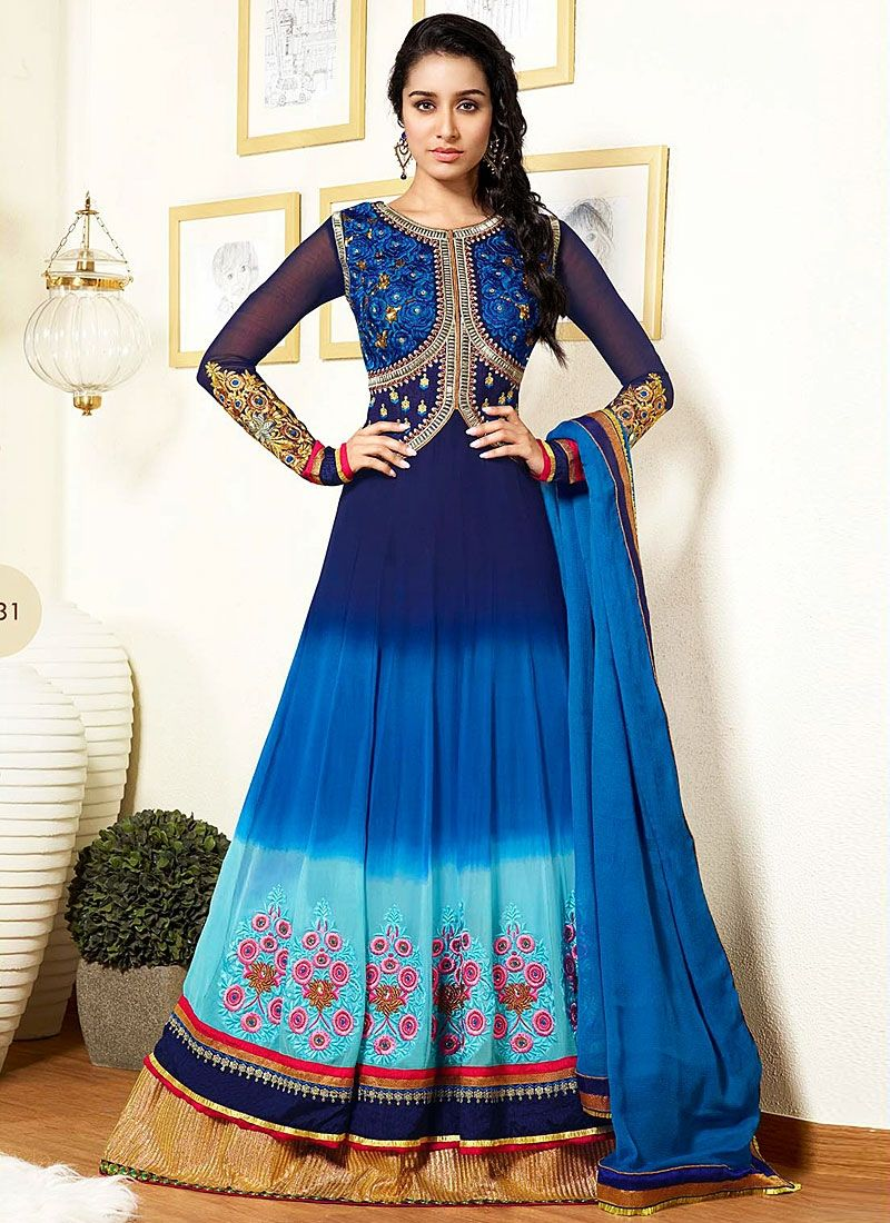Shraddha Kapoor Blue Embroidery Georgette Anarkali Suit